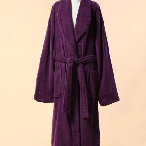 Extra Thick Purple Velour Bathrobe ..