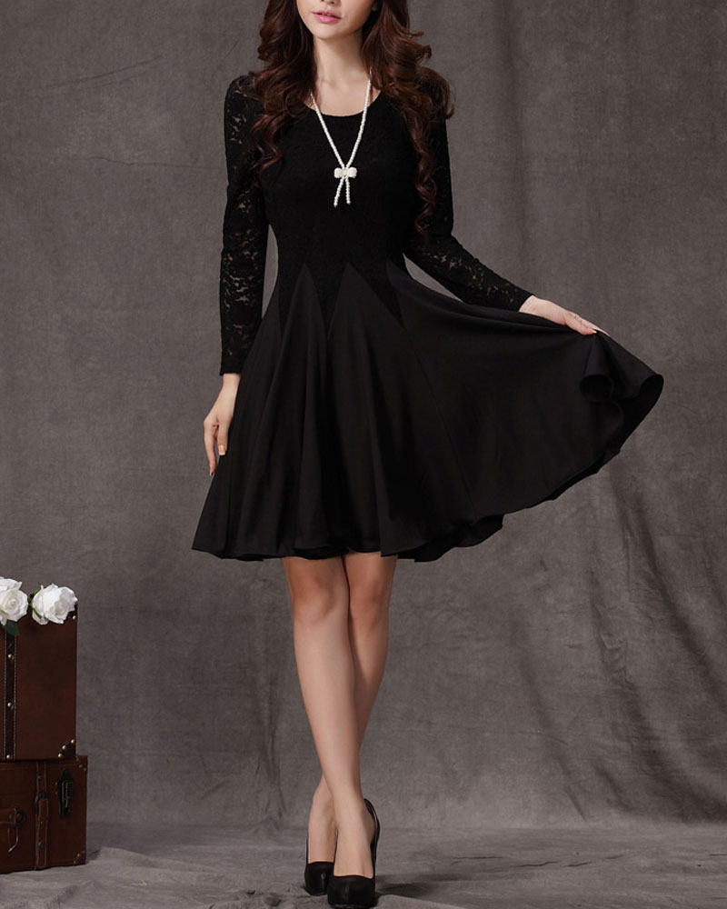 Long Sleeved Black Lace Chiffon Dress / Little Black Dress / Black ...