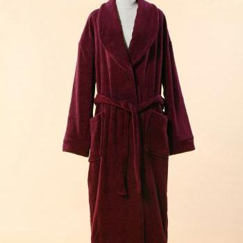 Extra Thick Red Terry Bathrobe - 100% Cotton Shawl Collar Terry Cloth Bathrobe