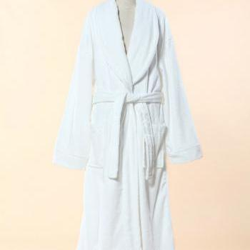 Extra White Red Terry Bathrobe - 100% Cotton Shawl Collar Terry Cloth Bathrobe