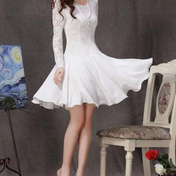 White Lace Dress - Long Sleeve White Lace Dress - Little White Dress